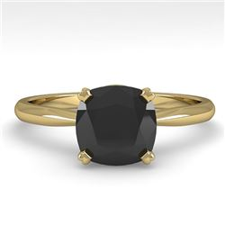 3.0 CTW Cushion Black Diamond Engagement Designer Ring Size 7 18K Yellow Gold - REF-107Y5X - 32458
