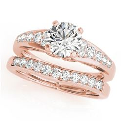 1.50 CTW Certified VS/SI Diamond Solitaire 2Pc Wedding Set 14K Rose Gold - REF-225H3M - 31719