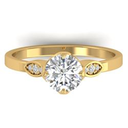 1.05 CTW Certified VS/SI Diamond Solitaire Art Deco Ring 14K Yellow Gold - REF-278F7N - 30563