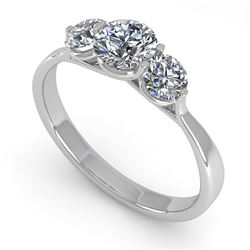 1 CTW Past Present Future Certified VS/SI Diamond Ring Martini 18K White Gold - REF-153H8M - 32253