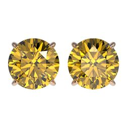 3 CTW Certified Intense Yellow SI Diamond Solitaire Stud Earrings 10K Rose Gold - REF-555V2Y - 33129