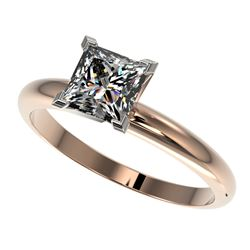 1.25 CTW Certified VS/SI Quality Princess Diamond Solitaire Ring 10K Rose Gold - REF-372K3W - 32917