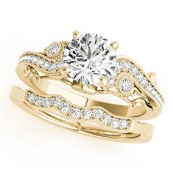 1.32 CTW Certified VS/SI Diamond Solitaire 2Pc Wedding Set Antique 14K Yellow Gold - REF-427N3A - 31