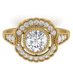 1.55 CTW Certified VS/SI Diamond Solitaire Art Deco Ring 14K Yellow Gold - REF-367V3Y - 30539