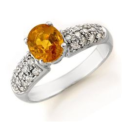 3.03 CTW Yellow Sapphire & Diamond Ring 14K White Gold - REF-74Y9X - 14364