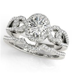 1.55 CTW Certified VS/SI Diamond 2Pc Wedding Set Solitaire Halo 14K White Gold - REF-389M3F - 31082