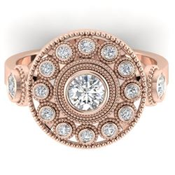 0.85 CTW Certified VS/SI Diamond Art Deco 3 Stone Ring 14K Rose Gold - REF-118F2N - 30472