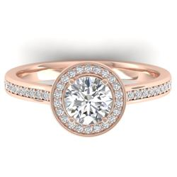 1.10 CTW Certified VS/SI Diamond Solitaire Micro Halo Ring 14K Rose Gold - REF-188V5Y - 30352