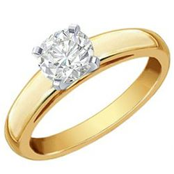 1.0 CTW Certified VS/SI Diamond Solitaire Ring 14K 2-Tone Gold - REF-481R9K - 12120