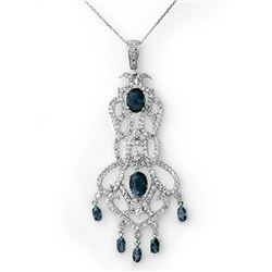 8.15 CTW Blue Sapphire & Diamond Necklace 14K White Gold - REF-260X2R - 11849