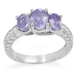 2.50 CTW Tanzanite & Diamond Ring 14K White Gold - REF-60F5N - 10776