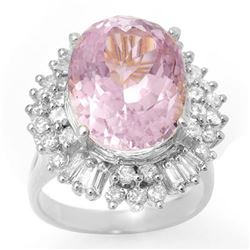15.75 CTW Kunzite & Diamond Ring 18K White Gold - REF-272N7A - 10601