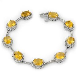 16.33 CTW Citrine & Diamond Bracelet 14K White Gold - REF-119M6F - 10914