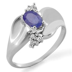 0.54 CTW Tanzanite & Diamond Ring 18K White Gold - REF-42V4Y - 11481