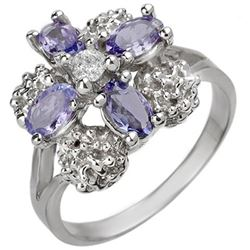0.83 CTW Tanzanite & Diamond Ring 14K White Gold - REF-44F2N - 10825