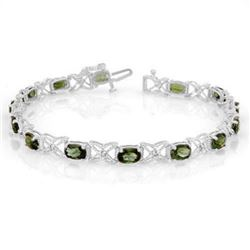 8.15 CTW Green Tourmaline & Diamond Bracelet 14K White Gold - REF-109N3A - 11261