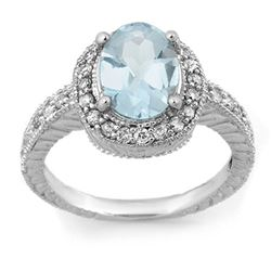 2.90 CTW Aquamarine & Diamond Ring 14K White Gold - REF-89W3H - 11419
