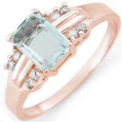 1.41 CTW Aquamarine & Diamond Ring 18K Rose Gold - REF-42V7Y - 10588