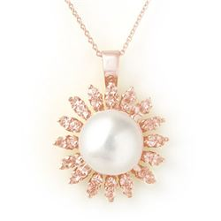 1.50 CTW Yellow Sapphire & Pearl Necklace 14K Rose Gold - REF-51F6N - 11740