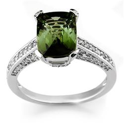 3.50 CTW Green Tourmaline & Diamond Ring 18K White Gold - REF-94W5H - 11066