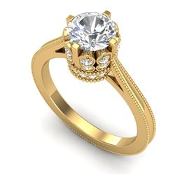 1.50 CTW VS/SI Diamond Art Deco Ring 18K Yellow Gold - REF-399N3A - 36832