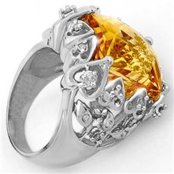 11.40 CTW Citrine & Diamond Ring 10K White Gold - REF-80H9M - 10523