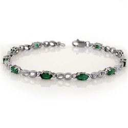 3.01 CTW Emerald & Diamond Bracelet 18K White Gold - REF-56N5A - 11323