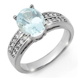 2.75 CTW Aquamarine & Diamond Ring 14K White Gold - REF-66N5A - 11306