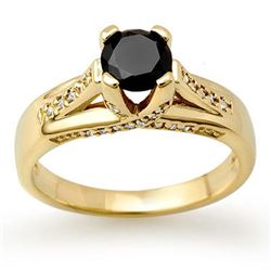 1.18 CTW VS Certified Black & White Diamond Ring 14K Yellow Gold - REF-64N2A - 11882