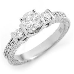 1.0 CTW Certified VS/SI Diamond Ring 14K White Gold - REF-150R4K - 11534