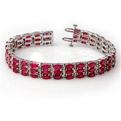 30.26 CTW Ruby & Diamond Bracelet 14K White Gold - REF-391X3R - 11546
