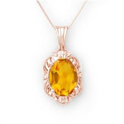 5.80 CTW Citrine & Diamond Necklace 10K Rose Gold - REF-44R9K - 10651