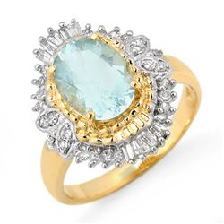2.48 CTW Aquamarine & Diamond Ring 14K Yellow Gold - REF-63R3K - 11123