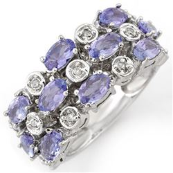 2.20 CTW Tanzanite & Diamond Ring 18K White Gold - REF-90X7R - 11248