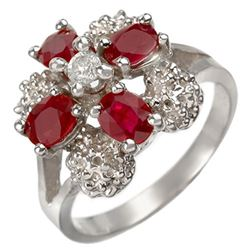 1.58 CTW Ruby & Diamond Ring 14K White Gold - REF-43K3W - 10844