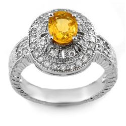 2.08 CTW Yellow Sapphire & Diamond Ring 14K White Gold - REF-72A2V - 10787