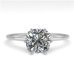 1.0 CTW VS/SI Cushion Diamond Solitaire Engagement Ring Size 7 18K White Gold - REF-287W4H - 35898