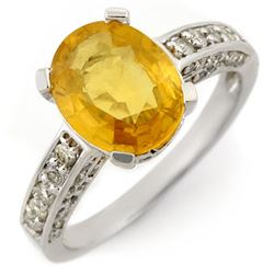 3.60 CTW Yellow Sapphire & Diamond Ring 14K White Gold - REF-72N4A - 11033