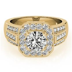 1.50 CTW Certified VS/SI Diamond Solitaire Halo Ring 18K Yellow Gold - REF-292H4M - 26894