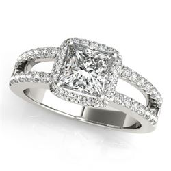 1.26 CTW Certified VS/SI Princess Diamond Solitaire Halo Ring 18K White Gold - REF-246H9M - 27135