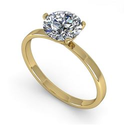 1.0 CTW Certified VS/SI Diamond Engagement Ring 14K Yellow Gold - REF-315M2F - 38327