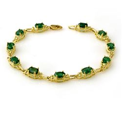 6.10 CTW Emerald Bracelet 10K Yellow Gold - REF-68W2H - 13799
