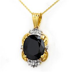 8.59 CTW Blue Sapphire & Diamond Pendant 14K Yellow Gold - REF-81A8V - 14102