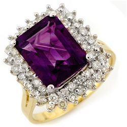 4.75 CTW Amethyst & Diamond Ring 14K Yellow Gold - REF-71X5R - 11109