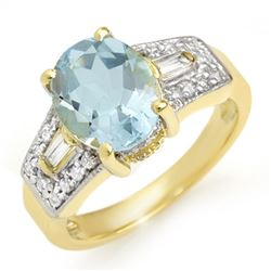 3.55 CTW Aquamarine & Diamond Ring 10K Yellow Gold - REF-70M7F - 11699