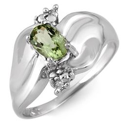0.54 CTW Green Tourmaline & Diamond Ring 18K White Gold - REF-48A2V - 11238