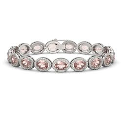 20.18 CTW Morganite & Diamond Bracelet White Gold 10K White Gold - REF-377Y3X - 40613