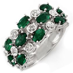 2.20 CTW Emerald & Diamond Ring 10K White Gold - REF-45F8N - 11420