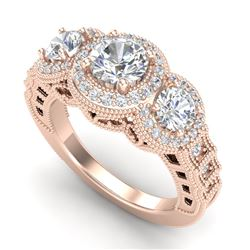 2.16 CTW VS/SI Diamond Solitaire Art Deco 3 Stone Ring 18K Rose Gold - REF-361F8N - 36969
