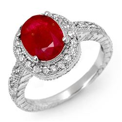 2.50 CTW Ruby & Diamond Ring 14K White Gold - REF-89N3A - 11927